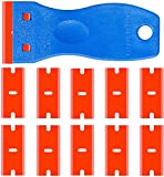 Double Edged Plastic Razor Blade Scrapers Knife with Contoured Grip for Scraping Labels and Decals Sticker From Glass, Windshields and Auto Window Tint Vinyl Tool Application (Scraper with 10 Blades)