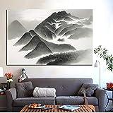 zxddzl Imprimir Pintura sobre Lienzo Pintura sobre Lienzo Montaña Abstracta Caligrafía Tradicional China
