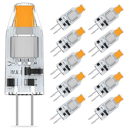 G4 LED Ampoules Blanc Chaud 2700K, 1.2W Équivalent 10W 12W Halogène, Pas de Scintillement G4 Ampoule LED Lampe, AC/DC 12V G4 LED, 360° Angle de Faisceau, Lot de 10, Eco.Luma