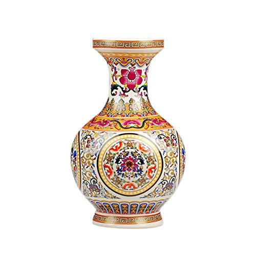 fanquare Jingdezhen Keramik Vase mit Gelbe und Rot Blumen Motiv, Handgefertigte Dekorative Porzellan Blumenvase, Höhe 25cm