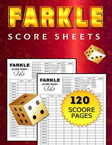 Farkel Score Sheets: Large Size 8.5'x11' inches / Great Scorebook For Farkle Scorekeeping / For Adult, Kids and Senior Players / Hours of Fun