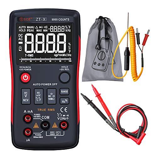Roeam Multímetro 9999 Botón Autorango Digital, AC/DC Tester Analogico LCD RMS/Temperatura/NCV/Capacimetro/Amprobe Profesional,Mini...