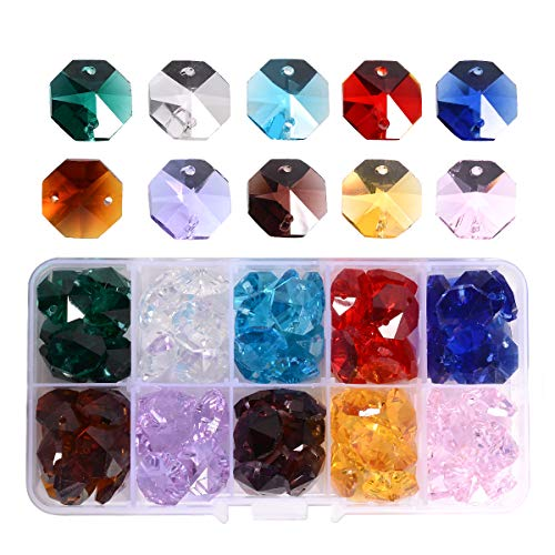 Lot 100pcs Glass Octagon Beads - LONGWIN Colorful Crystal Chandelier Parts Replacement Beads DIY Lamp Hanging Pendant Suncatcher