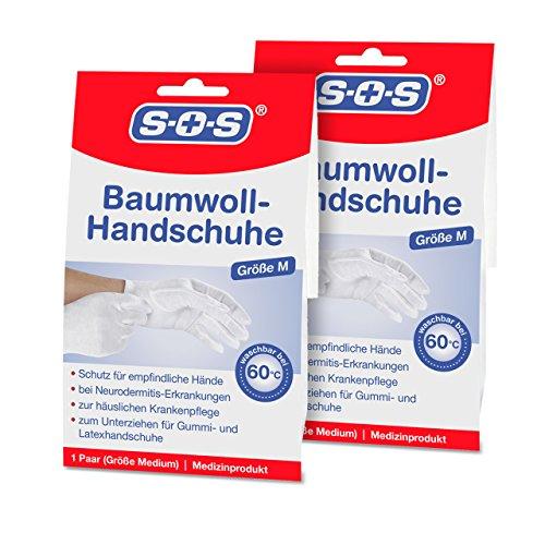 SOS Baumwoll-Handschuhe| Schutz für empfindliche Hände | Neurodermitis (2er-Pack)