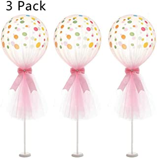 ARTSTORE 12 inch Tulle Balloons,Latex Dot Latex Dot Balloons with Column Base Kit for Wedding Party Decoration Baby Shower Birthday 3pcs,Pink