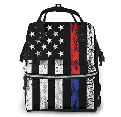 Red & Blue Line American Flag Diaper Bags Fashion Mummy Backpack Multi Functions Large Capacity Nappy Bag Nursing Bag for Baby Care for Traveling