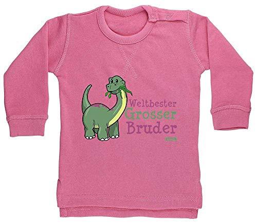 HARIZ Sudadera para bebé con diseño de dinosaurio del mundo, incluye tarjeta de regalo de algodón de azúcar, color rosa, 12-18 meses
