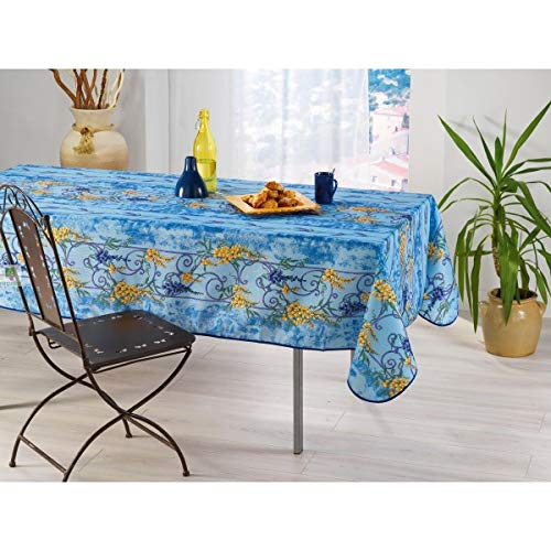 Les Jolie tafelkleed, rechthoekig, Provençal, 145 x 240 cm, 100% vuilafstotend, blauwe glyzine, keuken, woonkamer, eetkamer, modern design