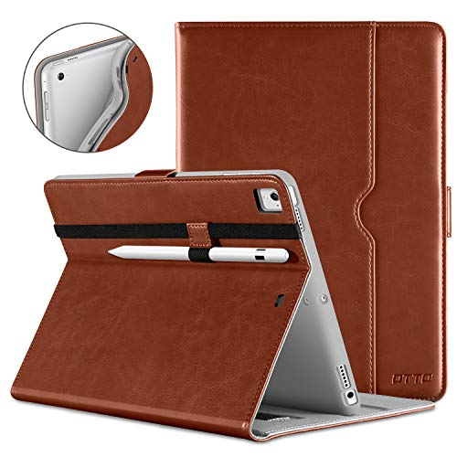 DTTO New iPad 9.7 Inch 5th/6th Generation 2018/2017 Case with Apple Pencil Holder, Premium Leather Folio Stand Cover Case for Apple iPad 9.7 inch, Also Fit iPad Pro 9.7/Air 2/Air - Brown(Grey Lining)