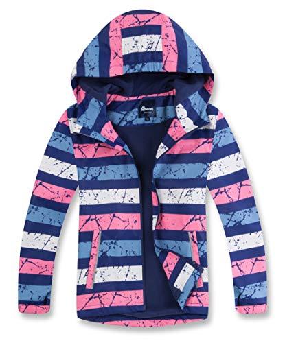 Hiheart Girls Fleece Lined Jacket Waterproof Hooded Windbreaker Blue Pink Stripe 4T
