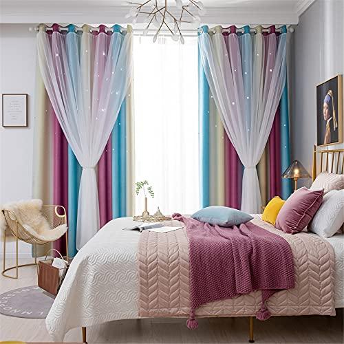 FACWAWF Cortina Doble De Estrella Hueca De Color Degradado Simple para El Hogar, Seis Colores De Cortinas Opacas Adecuadas para Sala De Estar Y Dormitorio 132x270cm(2pcs)