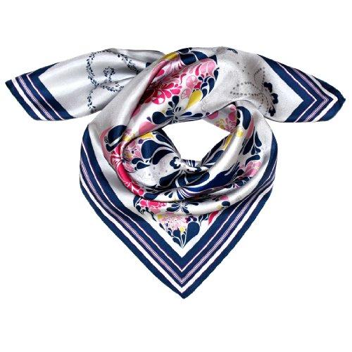 LORENZO CANA Foulard pour la femme – écharpe de 100% soie pour le printemps et l´été, carré avec les mesures de 70 x 70 cm – une sensation de luxe en bleu foncé gris rose jaune blanc
