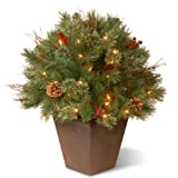 National Tree Company Artificial Christmas Decorative Pot   Flocked with Mixed Decorations and Lights   Glistening Pine - 2 ft