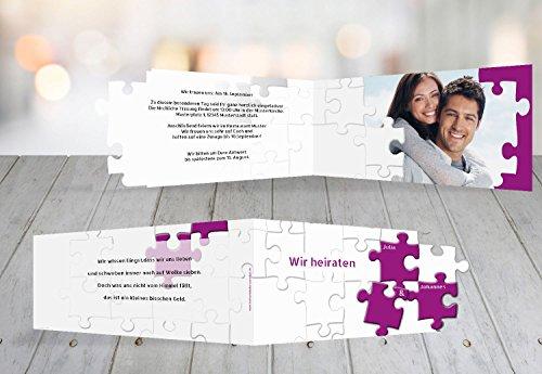 Kartenparadies Hochzeitskarte Kontur Einladung Puzzlekontur, hochwertige Einladung zur Heirat inklusive Umschläge | 100 Karten - (Format: 215x105 mm) Farbe: Pinklila