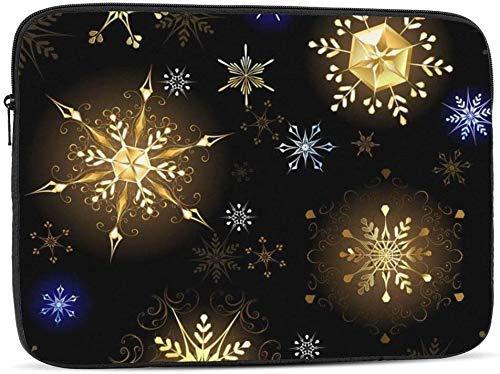 BONRI Funda para portátil Gold Dove compatible con estuche para ordenador portátil de moda de 10-17 pulgadas, copos de nieve dorados, 12 pulgadas