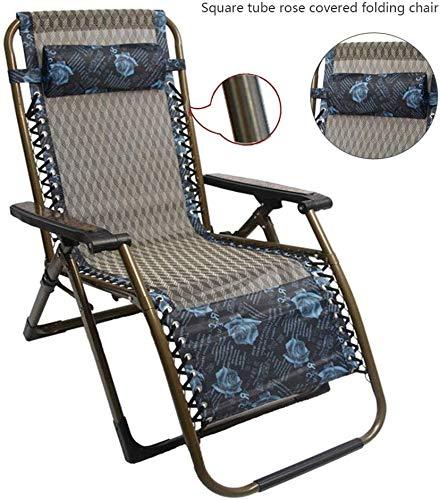 HWZQHJY De Gran tamaño Malla Cero Gravedad de sillón reclinable, Asiento Ajustable 350 Libras Patio Salón Soporte de la Silla XL Acolchados (Color : Blue)