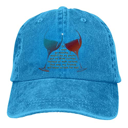 Skilltory If I Ever Go Missing. Fun Wine Saying Gifts Casquette Classic Baseball Cap Adults Unisex Adjustable Original Custom Made Snapback Hat Cotton Blue One Size