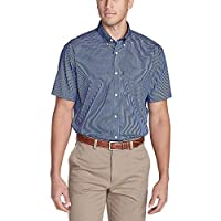 Eddie Bauer Men's Wrinkle-Free Relaxed Fit Short-Sleeve Pinpoint Oxford Shirt - Deep Sea (Blue)