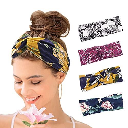 Set di 4 fasce per capelli da donna, stile boho, stile floreale, elastiche e sportive, per donne e ragazze