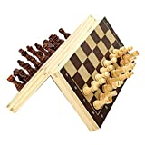 RDHFJOPS Juego de ajedrez plegable de madera,Juego de ajedrez de madera hecho a mano Set de ajedrez plegable magnético,Juguetes de juego familiar portátiles 34 x 34