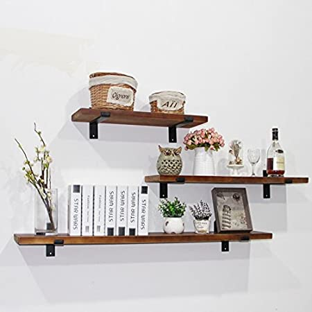 WGX 24'' 2-Tiers Rustic Kitchen Wood Wall Shelf with Metal Bracket Also Multi Use Can Be Used As a Spice Rack Living Room or Bedroom Wall Shelf