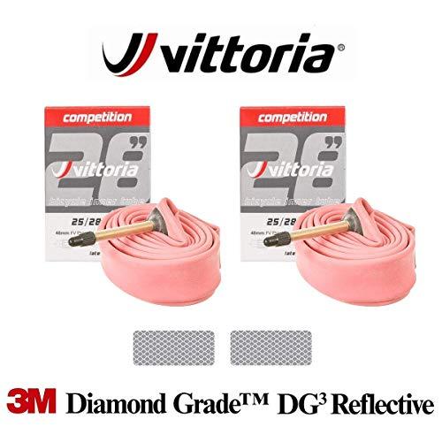 Vittoria Competition Latex SV 48 mm – 2 x Rennrad-Schläuche mit 3M Diamant-Grade reflektierenden Aufklebern, 19-23C