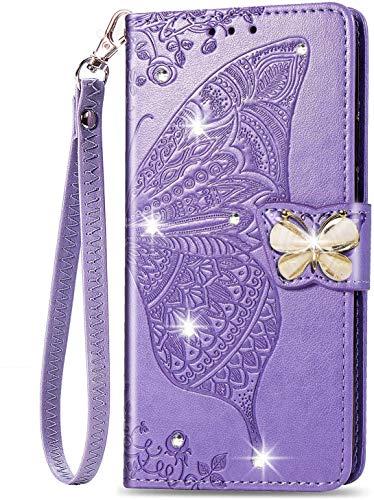 Unichthy Samsung Galaxy S30 Plus Hülle für Mädchen Glitzer Sparkle Bling Handyhülle 3D Gems Schmetterling Stoßfest Leder Wallet Flip Schutzhülle Folio Notebook Shell Lavendel