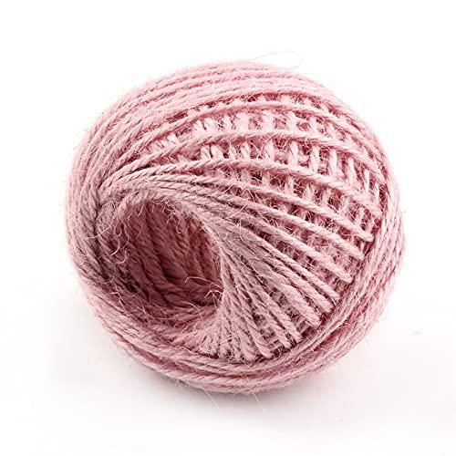 ZJZ Cuerda de yute natural de 50 m, 16 colores disponibles, cuerda de cáñamo trenzada de 3 capas, para obras de arte, manualidades de bricolaje, guita de regalo (color rosa claro, tamaño: 50 metros)