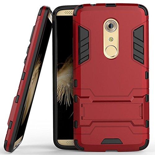 MaiJin Funda para ZTE Axon 7 (5,5 Pulgadas) 2 en 1 Híbrida Rugged Armor Case Choque Absorción Protección Dual Layer Bumper Carcasa con Pata de Cabra (Rojo)