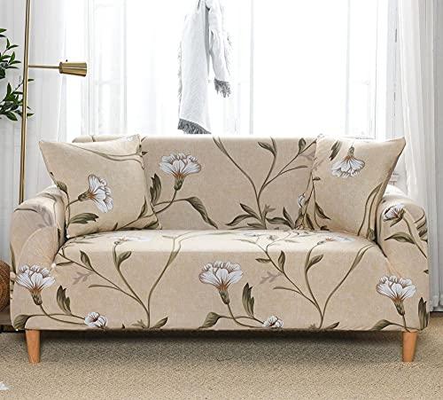 Fundas Sofas 3 y 2 Plazas Ajustables Flor Blanca Caqui Fundas para Sofa Spandex Fundas Sofa Elasticas Estampadas Funda Sillon Universal Espesas Cubre Sofa Verano Modernas Fundas de Sofa