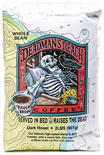 Raven's Brew Coffee Whole Bean Deadman's Reach – Dark Roast – Breakfast Coffee Bliss with an Instant Caffeine Supercharge – Delicious as Espresso – 2lb Bag
