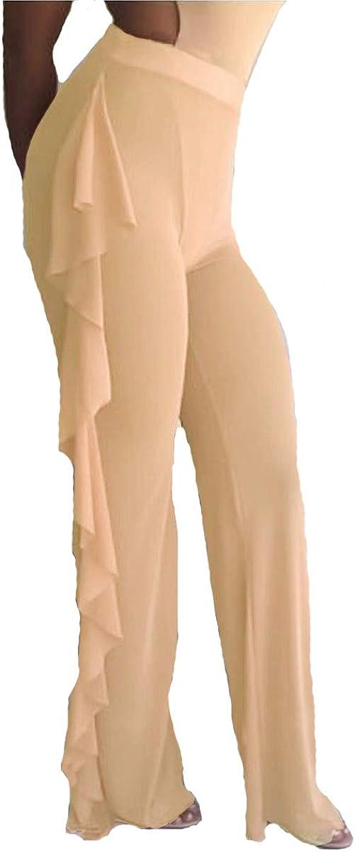 Quality inspection ZIIFULLHOU Women Swimsuit Cover Up Pers Cheap sale Pants Ruffle Mesh Bottom