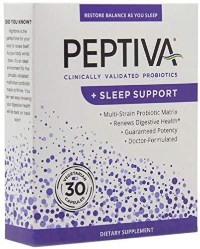 Peptiva 26 Billion CFU Probiotic and Sleep Support - Clinically Validated Multi-Strain Probiotic - Lactobacillus and Bifidobacterium, Melatonin - 30 Count
