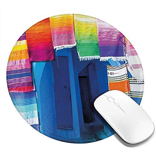 Ronde muismat, Marokkaanse Street Shop View met levendige kleurrijke handwerk beroemde tapijten foto, antislip Gaming Mouse Mat