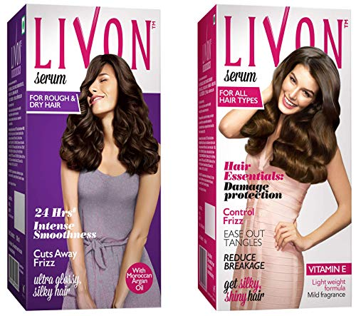 Livon Serum For Women For Dry & Rough Hair For 24 Hour Frizz-Free Smoothness,With Argan Oil & Vitami And Livon Serum, 50ml