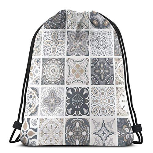 jingqi Traditionelle Verzierte Portugiesische Dekorative Fliesen Azulejos Zusammenfassung Reisesackpack,Sport Cinch Pack,Kordelzug Taschen,Sporttaschen Drucken,Leichter Turnbeutel,Gymsack