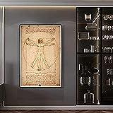 YPAINTING Pintura HD, Pinturas de Lienzo de Arte Famoso del Hombre de Vitruvio de Leonardo da Vinci, Carteles e Impresiones artísticos de Pared clásicos, imágenes artísticas de Pared