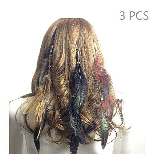 Jurxy Böhmische Pfau Feder Kopfschmuck Stirnband Damen Hippie Boho Indianer Stirnbänder Zigeuner Headwear BB Clip Frau Mädchen Lieblings Haarschmuck –3 Farben