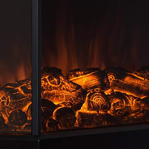 Klarstein Castillo • elektrischer Kamin • Kaminofen • Flammensimulation • 2 Stufen: 1000 W oder 2000 W Leistung • Halogen-Beleuchtung • Überhitzungsschutz • Räume bis 40 m² • unauffällige Bediensektion • Metallgehäuse • große Glasfront • schwarz - 5