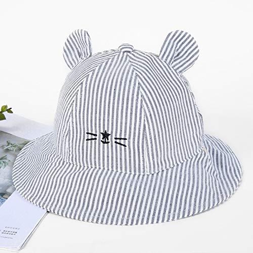 geiqianjiumai Toldo Infantil Nuevo Gorro de Cuenca de algodón Gato Visera de Apertura Trasera Sombrero de Pescador Gris 52CM