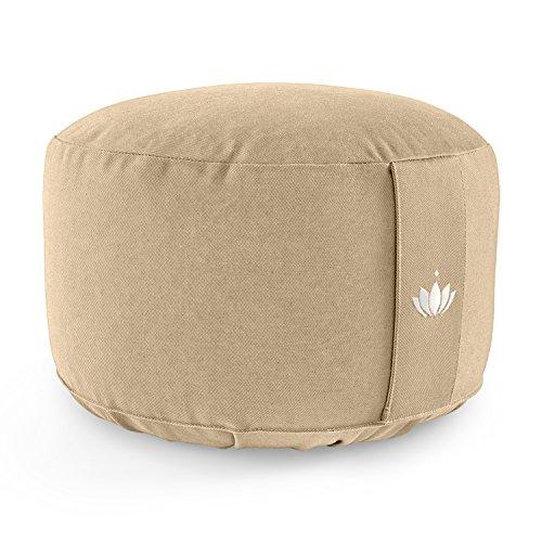 Lotuscrafts Cojin Meditacion Yoga Lotus - Altura 20 cm - Relleno con Cáscaras de Espelta - Cubierta en Algodon Lavable - Cojin Suelo Redondo - Cojin Yoga - Meditation Cushion - Certificado Gots
