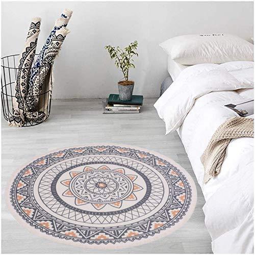 Pauwer Runder Teppiche Handgewebte Baumwolle Teppiche mit Quasten rutschfest Abwaschbar Teppiche für Wohnzimmer Schlafzimmer Kinderzimmer (Boho Gelb, Runde 120cm)