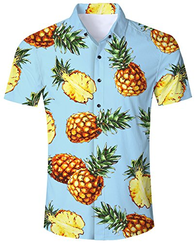RAISEVERN Männer Regular Fit Ananas mit kurzen Ärmeln Button - Down - Hawaii - Hemden Aloha