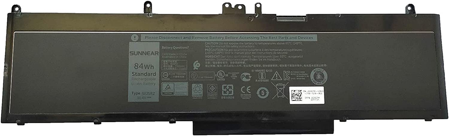 SUNNEAR WJ5R2 84Wh Free shipping on posting reviews 7350mAh Battery Dell for Precisio Replacement Ranking TOP1