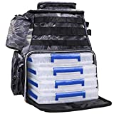Thekuai Fishing Tackle Backpack 2 Fishing Rod Holders with 4 Tackle Boxes, Large Storage, Backpack for Trout Fishing Outdoor Sports Camping Hiking (Python Black with 4 Trays)