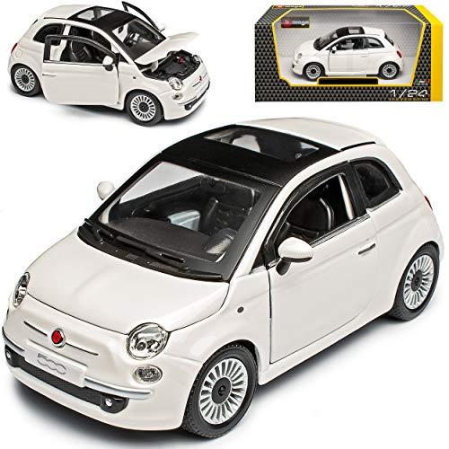 FIAT 500 Nuova Weiss Coupe Ab 2007 18-22106 1/24 Bburago Modell Auto mit individiuellem Wunschkennzeichen