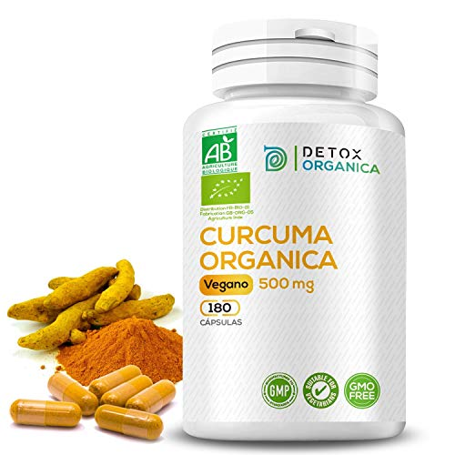 Detox Organica Curcuma En Capsulas Orgánica 500 mg - 180 Cápsulas De Curcuma - Curcuma Capsulas Orgánica - Antioxidante - Antiinflamatorio