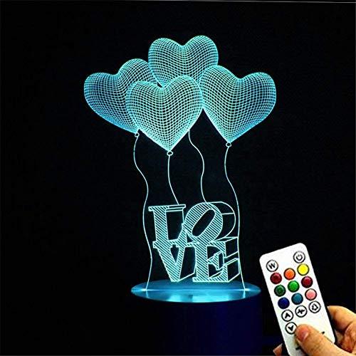 Deerbird® 4 Love Heart des Ballons Illusion visuelle 3D 7 Changement de couleur LED contrôle à distance des touches Lampe de bureau USB Veilleuse avec élégante Base Blanche