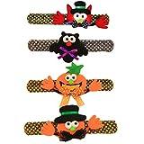 Pulsera Slap Pulseras de Juguete Pulseras de Bofetada de Cumpleaños Pulsera Halloween niños Pulsera Halloween niños,Pumpkin búho Bat Decoraciones de Halloween para Fiestas 4 Piezas