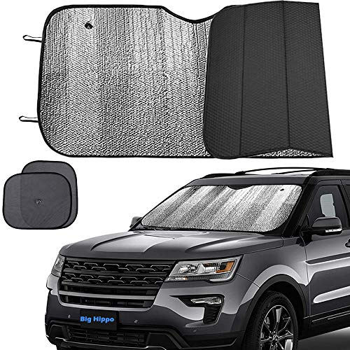 Big Hippo Windshield Sun Shade, Car Window Shade as Bonus Keep Vehicle Cool Windshield Sunshade Protect Your Car from Sun Heat & Glare Best UV Ray Visor Protector -Silver/Black (Size: 55.16X 27.5inch)